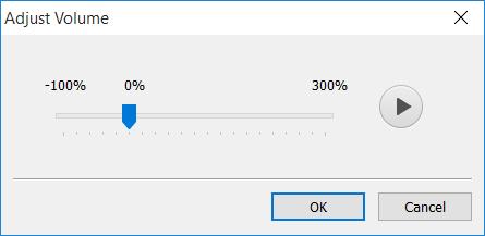 المربع الحواري Adjust Volume