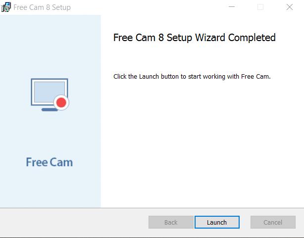إنتهاء تثبيت برنامج Free Cam