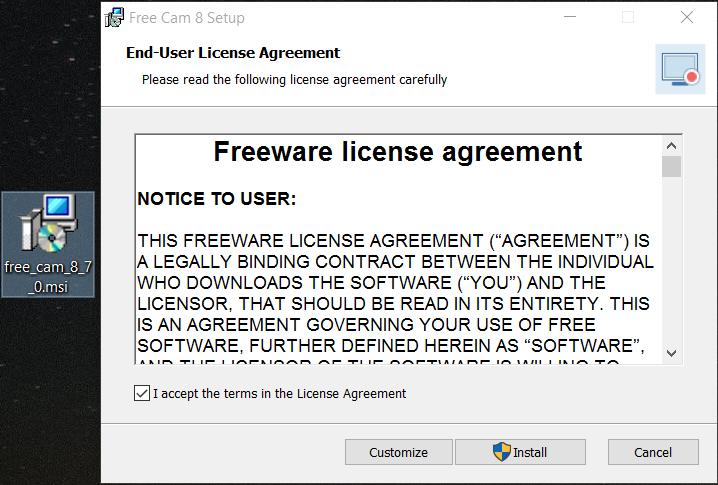إتفاقية ترخيص برنامج Free Cam