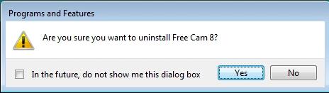 رسالة إلغاء تثبيت برنامج Free Cam داخل ويندوز 7