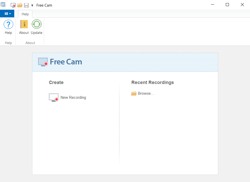 نافذة برنامج Free Cam