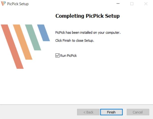 إنتهاء تثبيت برنامج PicPick